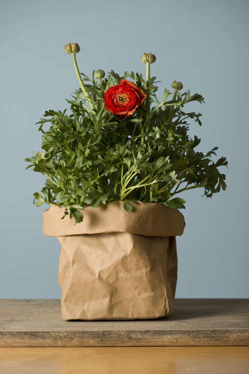 Cestino carta stoffa con fiori