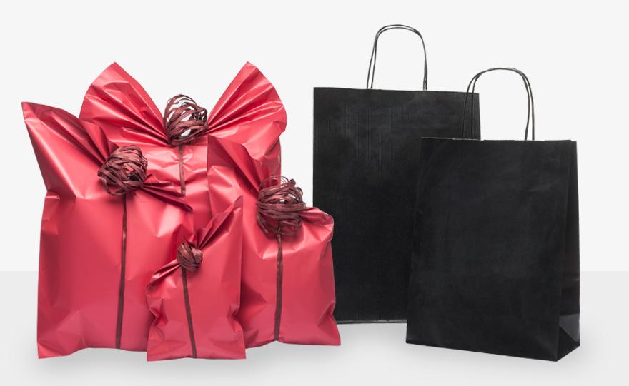Sacchetti regalo Corallo e shopper nere