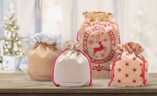 Sacchetti natalizi in tessuto