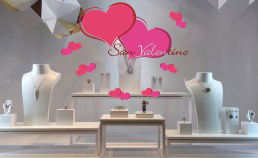vetrina san valentino gioielli