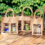 Shopper Portavasetti Manico cotone 3 vasetti Naturale