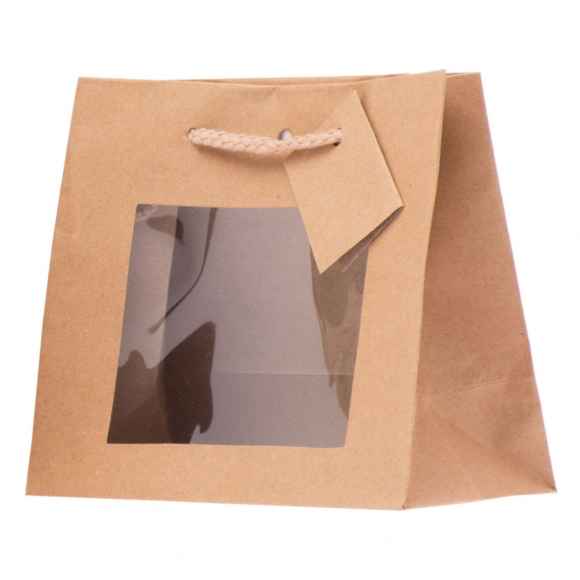Shopper Carta Kraft Lusso con Finestra Avana