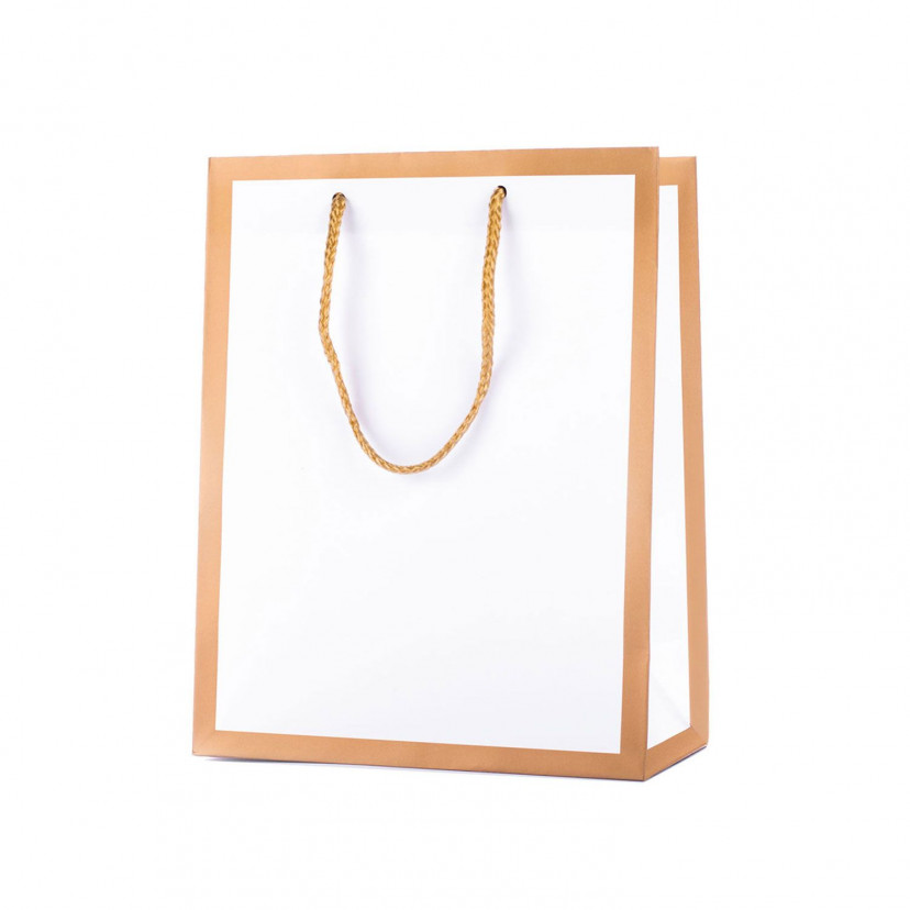 Shopper Carta Gold Frame Bianco