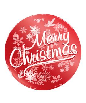 Etichetta Adesiva Merry Christmas Metal Rosso