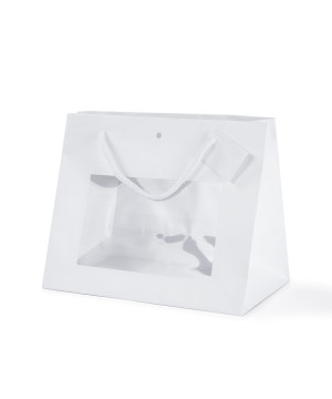Shopper Carta Lusso Opaca con vetrina Bianco