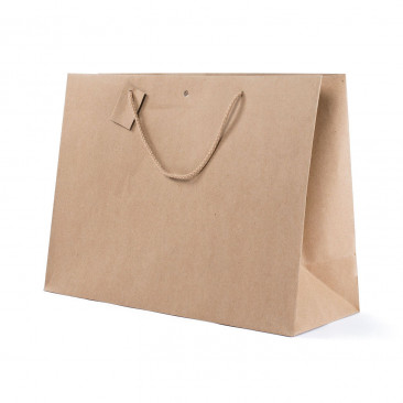 Shopper Carta Kraft con Tag & Foro Avana