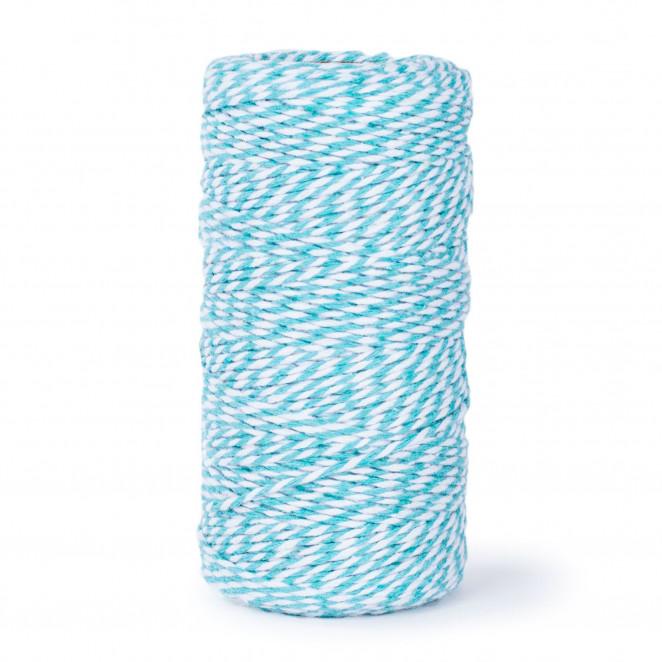 Cordino Bicolor di Cotone Bianco/Azzurro