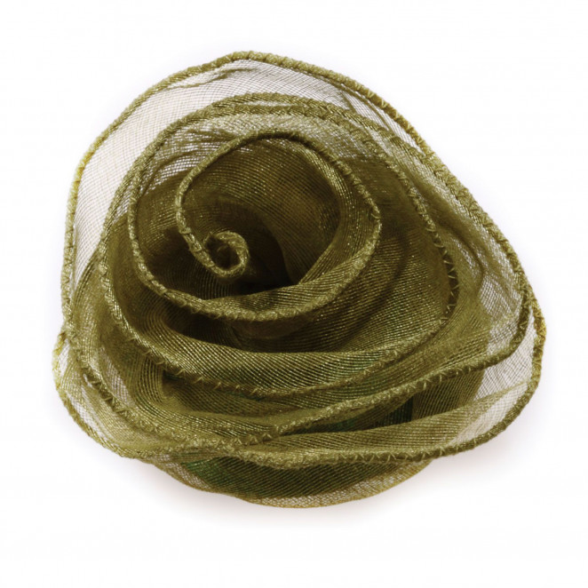 Rosa Tessuto Organza con zip Verde